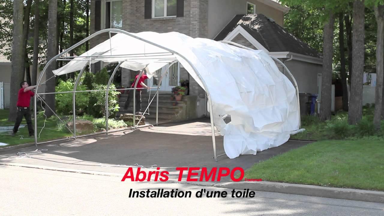 Installation toile abri tempo youtube for Abri auto double costco