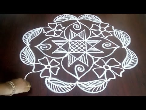 Latest Creative Rangoli With Leafs And Flowers 4 x 2 x 2  || Friday  Creative Kolam || Fashion World