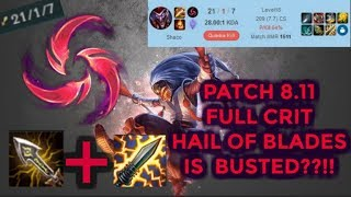 Patch 8.11 Full Crit Shaco Jungle with Hail of Blades is Busted?! [League of Legends] Infernal Shaco
