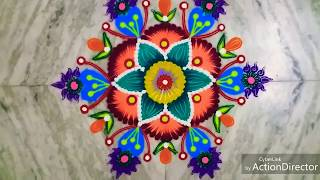 Simple rangoli with colours/ /5×3 dots