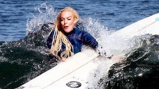 Lindsay Lohan Wipes Out While Surfing In Malibu [2011]