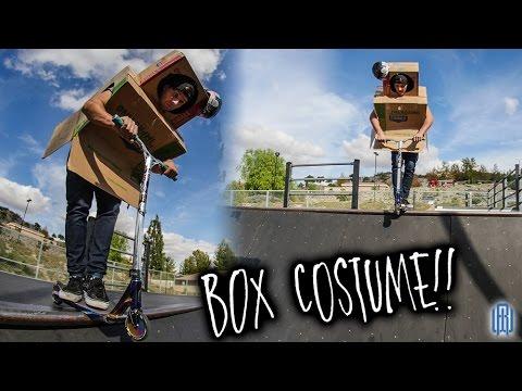 FUNNY BOX COSTUME AT SKATE PARK! **BROKEN GOPRO 5**