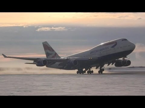 A British Airways Boeing 747-436 ( G-BNLG ) takes off from Gander International Airport ( CYQX ) to London Heathrow ( EGLL ). This aircraft which diverted ea...