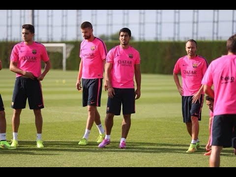 Luis Suarez Nutmeg On Vermaelen • Training • FC Barcelona 2014/15