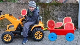 Funny Boy Drives Watermelon Tractor In Outdoor Playground For Kids