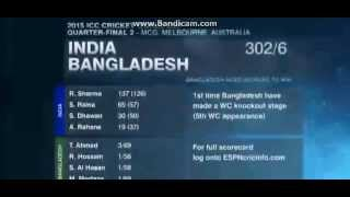 Rohit is Out,     India vs Bangladesh 2015 Worldcup Match Highlights QuarterFinal