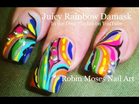 3 Nail Art Design   DIY Rainbow Damask Tutorial   Long Nail Art Ideas