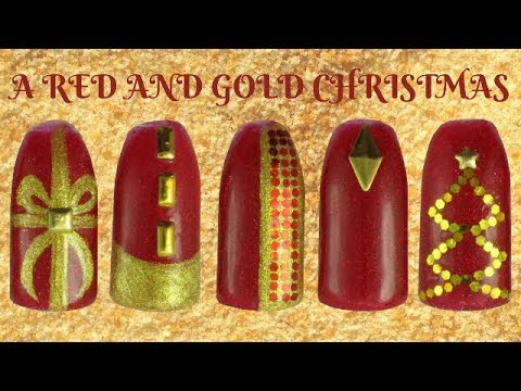 Very Easy Red and Gold Christmas Nail Designs