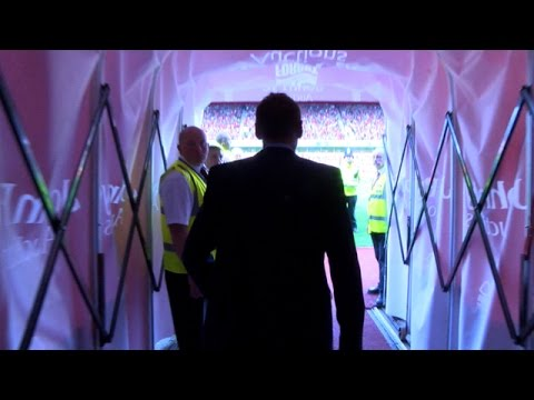 Stuart Pearce walks out for the first time as Nottingham Forest manager