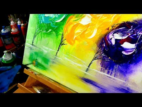 3 flames 3 trees step by step abstract landscape painting - fan brush, sponge, acrylic paint