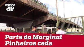 Parte de elevado de acesso da Marginal Pinheiros para Ponte do Jaguaré cede