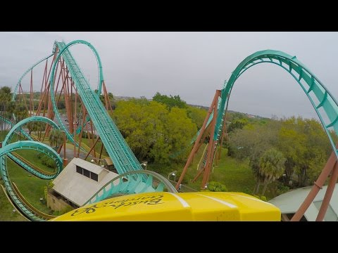 Kumba Roller Coaster POV 60fps Busch Gardens Tampa Front Seat View