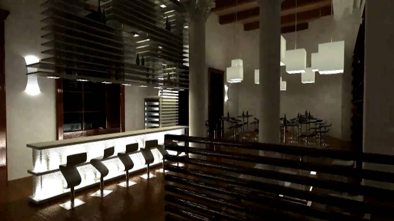 Interior Of A Wine Bar Rendering 720p HQ 3DS Max