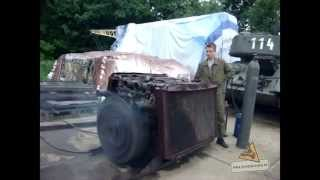 T-34 RUSSIAN DIESEL ENGINE START 38L V12 SOUND
