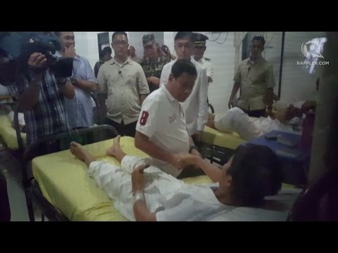 Duterte visits with wounded soldiers in Zamboanga City