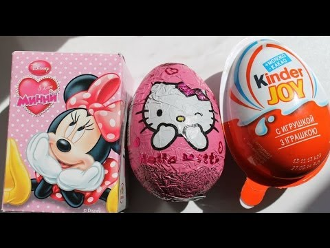3 Surprise Eggs. Kinder Joy. Hello Kitty & Minnie Mouse