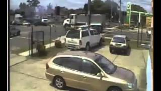 Truck crash caught on Jaycar video surveillance   car crash)