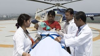 Emergency helicopter service of square hospital Bangladesh. for emergency call @ +880173377773-5