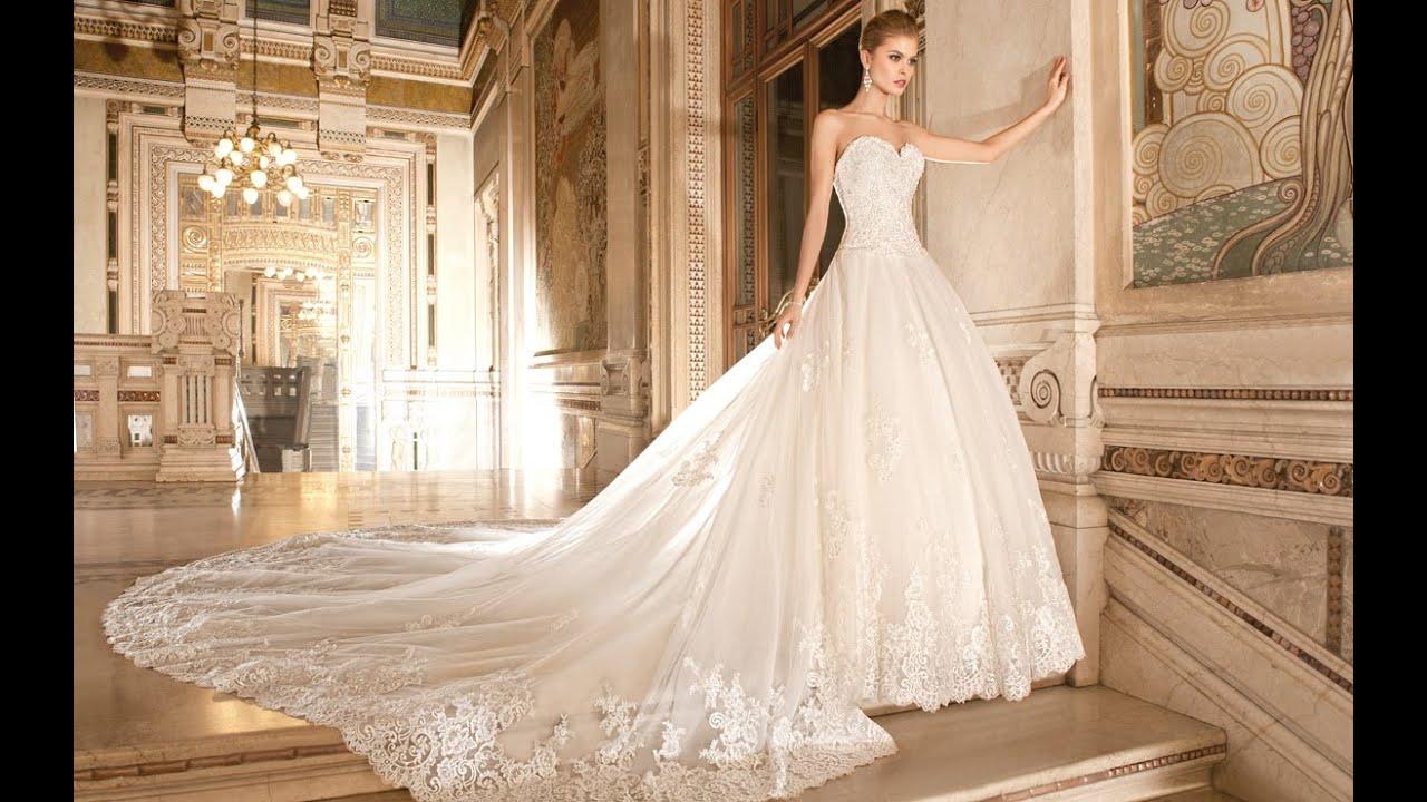 Фото свадебных платьев с кружевом и шлейфом 184