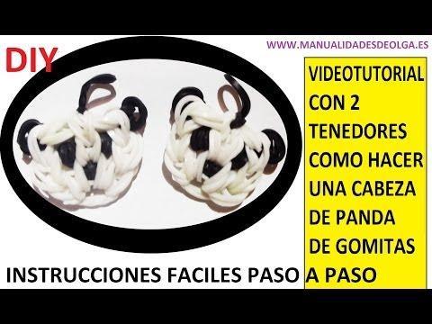 COMO HACER UNA CABEZA DE PANDA DE GOMITAS CON DOS TENEDORES. VIDEO TUTORIAL DIY FIGURA (CHARM)