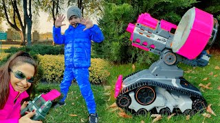 Mom and Den Pretend play with TERRASCOUT Nerf DRONE. Hide and seek in the park for kids