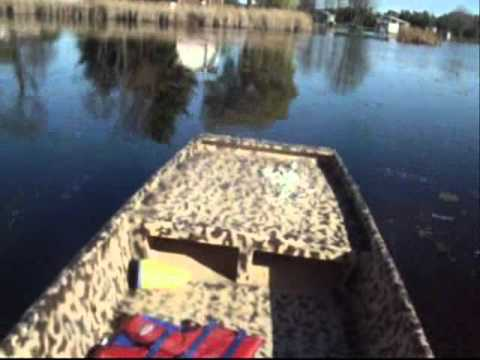 homemade duck boat and mud motor