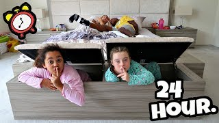 I SPENT THE NIGHT IN MY PARENTS BEDROOM!! 24 Hour Challenge