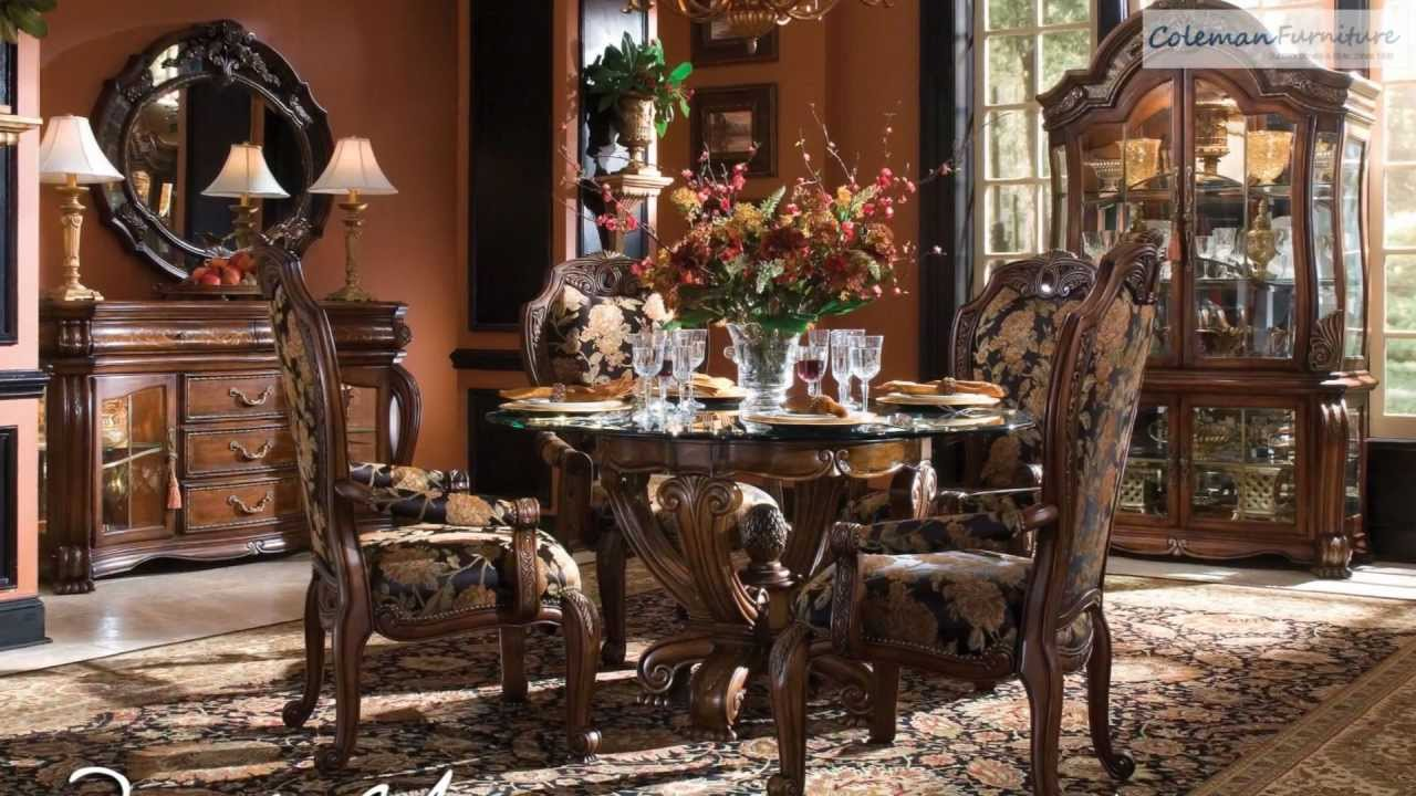 oppulente sienna spice round dining room collection from