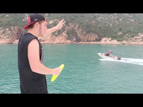 Epic Frisbee Speed Boat Catch