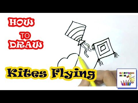 How to draw Kites Flying in easy steps, step by step for children, kids, beginners