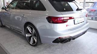 Amazing Floret Silver new 2018 Audi RS4 Avant 450PS |Start up,  REVS| SOUND| walkaround