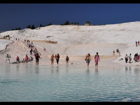 Pamukkale in Denizli, Turkey / Turkiye (walking down thermal pools Cotton Castle) denizlihotel.com