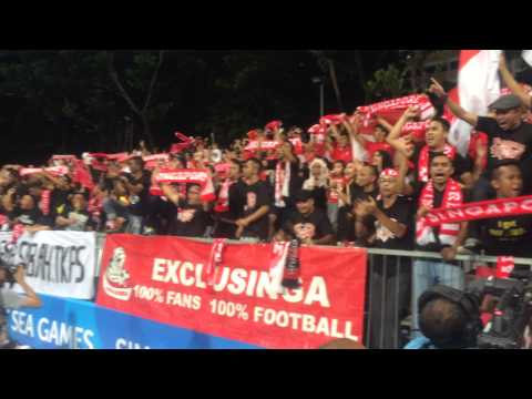 Singapore fans cheering at Singapore-Cambodia match