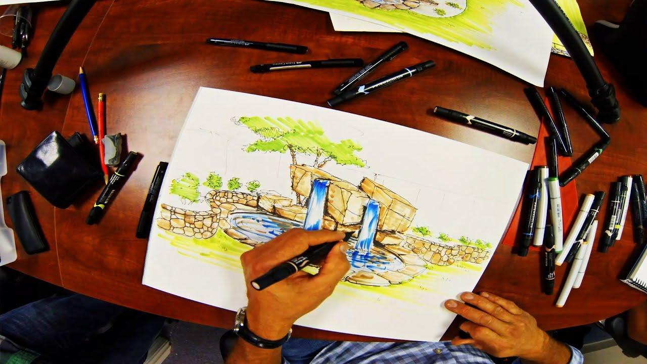 Forest Waterfall Drawing Backyard Waterfall Drawing