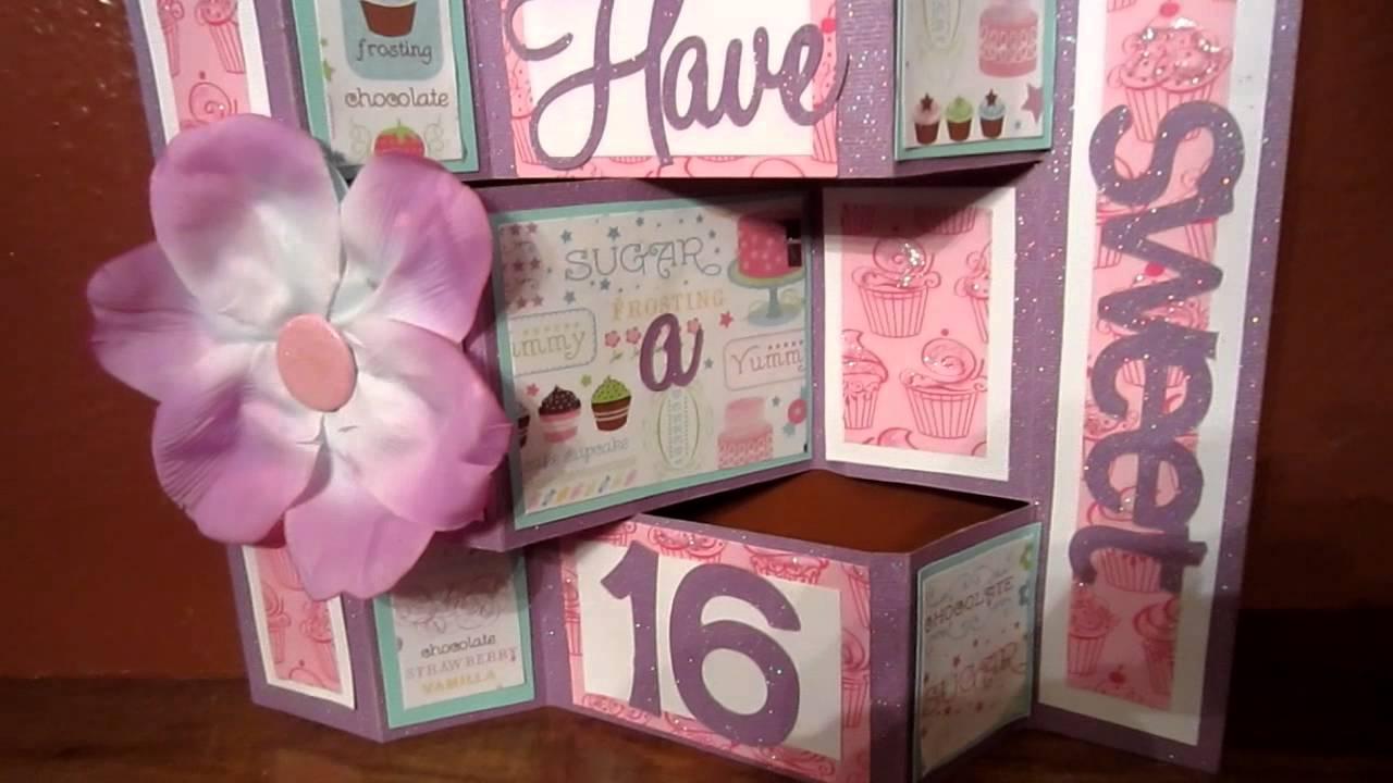 Sweet 16th Birthday Card Shutter Card Using Birthday Cakes