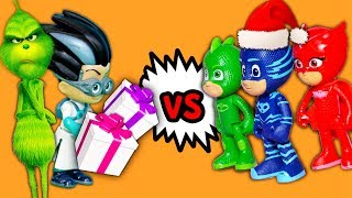 PJ Masks and Paw Patrol VS Romeo and the Grinch takes Christmas Gifts with Puppy Dog Pals