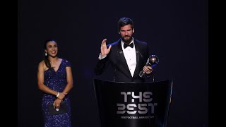 Alisson Becker reaction - The Best FIFA Men's Goalkeeper 2019
