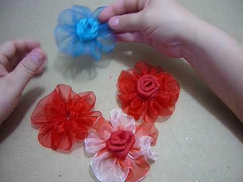Tutorial paso a paso Flor en cinta organza para el cabello No.149 Manualidadeslahormiga