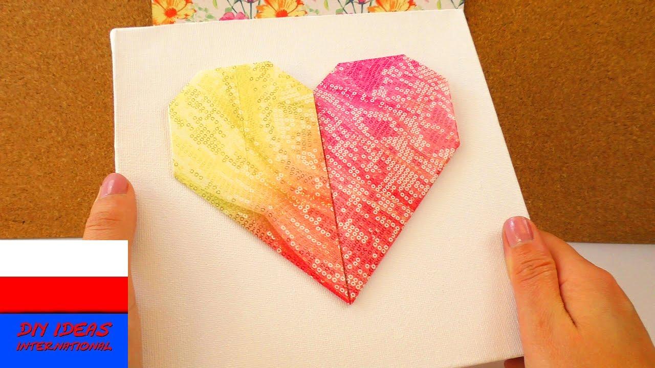 DIY Półtno z sercem origam | dekoracja pokoju | prosty pomysł