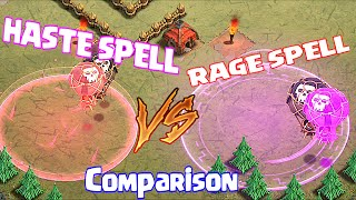 Clash Of Clans - NEW HASTE SPELL vs. RAGE SPELL COMPARISON (New dark spell)