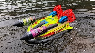 Rocket powered RC Hovercraft !! Amazing Water Launch