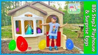 MEGA GIANT SURPRISE BOX STEP2 Playhouse + Egg Hunt for Huge Surprise Eggs Opening Toys Frozen Elsa
