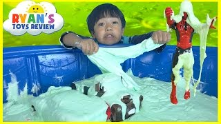 HOW TO MAKE GIANT SLIME GOO in KidPool Disney Cars toys McQueen Mater Spiderman Minions