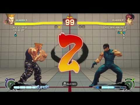 DATE MASAMUNE [Fei] vs ACE E I RI N [Guile] kao 1976 [Ryu] SSF4 Japanese Ranked Matches - TRUE-HD