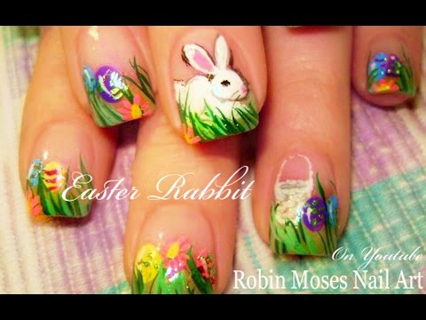nail art tutorial  easter nails  colorful eggs and bunny
