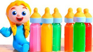 SUPERHERO BABY TRIES NEW BABY BOTTLES FLAVORS ❤ SUPERHERO PLAY DOH CARTOONS FOR KIDS