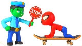 HULK POLICE STOPS SPIDERMAN ❤ Spiderman, Hulk & Frozen Play Doh Cartoons For Kids