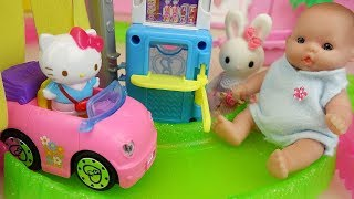 Baby Doll auto Car shop and Hello Kitty toys baby Doli house play