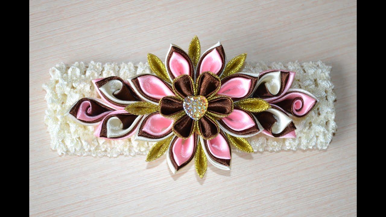 Как сделать ободок в стиле канзаши мастер класс