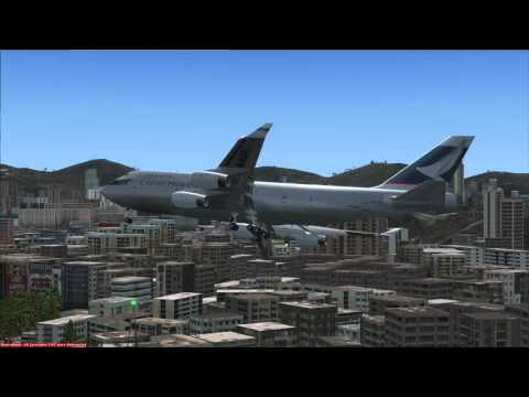FSX Cathay Pacific Cargo 747 landing in Hong Kong, Kai Tak Airport